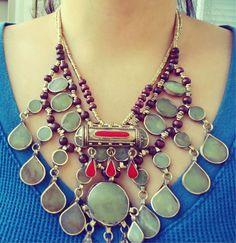 FREE Shipping Afghan Tribal Vintage  Stone Necklace.Bib Necklace- Collar neckpiece. Gypsy jewelry. Vintage Kuchi Necklace.Statement Necklace  $62.00  eTSY ON zAMARUTJEWEL