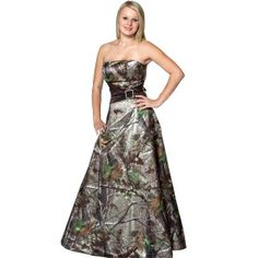 MAKES ME RETHINK EVERY DRESS PURCHASE I EVER MADE!    Realtree Camo Gown with Sash    This a-line long formal has an asymmetrical accent wrap at the waistline to emphasize the small waist or add an optical illusion for the larger waist.  The full a-line skirt has a built in net slip to give the hour-glass shape to any figure.  Available in Realtree APG and Max-4.  Lace-up back corset.