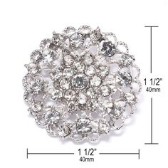 This listing is for 75 of our beautiful sparkling Wedding Embellishments, which can be used for invitations, brooch bouquets, cake decorations, ring pillows, event decor, crafts, scrap booking, and more!    DETAILS:    -Quantity: 75    -Price: only $1.85 /each!    -Measurements Inches (Approx): 1 1/2 x 1 1/2    -Measurements Millimeters (Approx): 40mm x 40mm    -Stones: Grade A+ CLEAR Glass Rhinestone Crystals    -Backing: Brooch Pin    -Metal Plating Color: Antique Silver    -Product…