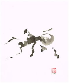 Ant, Original  Sumi-e Brush Ink Painting Japanese art by LilithOhan