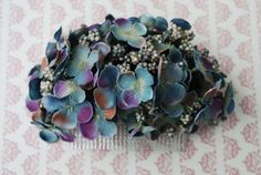 Beautiful antique teal blue and lilac hydrangea hair comb vintage rockabilly style wedding 40s 50s pin up bride hairflower haircomb boho