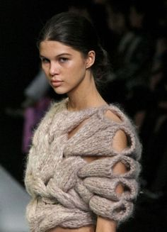 Fascinating sweater with unique shape, form and texture