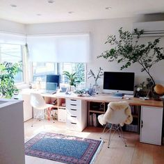 Comfortable Workspace Bedroom Design And Decor Ideas - MRLN. Comfortable Workspace Bedroom D Home Office Space, Home Office Design, Home Office Decor, Home Design, Office Ideas, Design Ideas, Office Jobs, Ikea Office, Office Designs