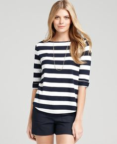 Ann Taylor - AT New Arrivals - Patio Stripe 3/4 Sleeve Tee