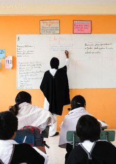 School children and male teacher wearing traditional Ecuadorian costume, Ecuador
