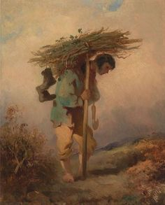George Chinnery, British, A Man Carrying Faggots, ca. Oil on… Drawings, Painting, Art Boards, Oil Painting, British Art, Art, American Realism, Farmer Painting, Art History