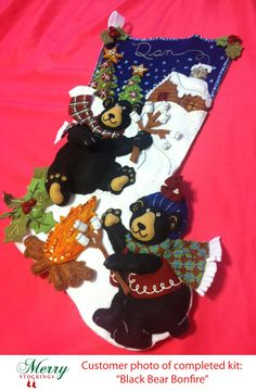 "Customer photo sent to MerryStockings.com of completed kit ""Black Bear Bonfire"". Nice job!"