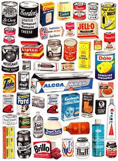 groceries1950 how to avoid disease: do not eat these items.  purchase them and love their label designs as historical sculptures instead.