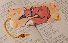 Bookmark sleeping cute red fox - woodland illustration - forest animal artwork - furry drawing on Etsy, $2.43