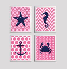 Beach Nursery Ikat Girl Boy Baby Buble Gum Pink Navy Art Ocean Nautical set of 4 on Etsy, $48.00