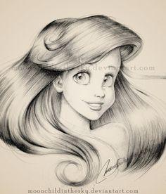 Ariel Portrait BnW by *moonchildinthesky