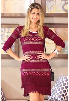 Vestido-franjas-rendado-roxo   Galeria Tricot - Galeria Tricot