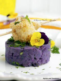 Lemony Mashed Vitelotte Potatoes With skewered Baked Fish garnish