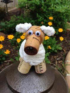 Fluffy White Puppy Dog - Wine Cork Ornament, Wine Cork Craft, Wine Decor, Wine Gift, Rescue Do. Wine Cork Wreath, Wine Cork Ornaments, Wine Cork Art, Wine Corks, Wine Craft, Wine Cork Crafts, Wine Bottle Crafts, Wine Cork Projects, Wine Decor