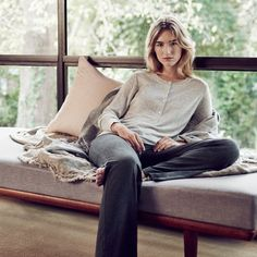 Weekend Luxe: Weekend dressing remains refined when attention to fabric detail is emphasised. A draped pant in rich charcoal melange modal jersey is made for lounging, while a fine merino wool-silk blend henley delivers the perfect mix of effortlessness and comfort.