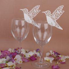 Amazon | 【Phenovo】ワイン グラス カード 結婚式用 ウェディングパーティー鳥パターン 50ペア | 紙吹雪・飾り・クラッカー 通販