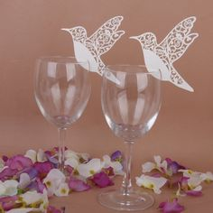Amazon.com: 50 White Humming Birds Wedding Table Name Place Cards Wine Glass Party Decoration Favor: Kitchen & Dining