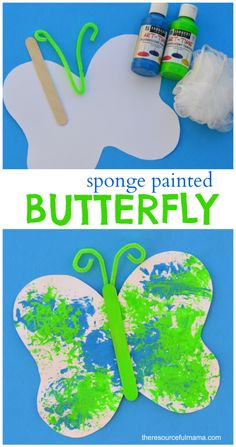 Loofah sponge painted butterfly craft for kids. Free printable butterfly template. Great spring or summer craft for kids.