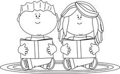 Black and White Reading Partners Clip Art - Black and White Reading Partners Image Colouring Pages, Coloring Pages For Kids, Coloring Books, Black And White Google, Clipart Black And White, Book Clip Art, Window Mural, Shape Games, Relief Society Activities