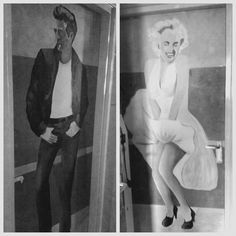 Marilyn Monroe, James Dean, Mural, Project k, toilet deuren, muurschildering, acryl