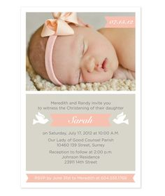 Baby Girl Baptism / Christening Invitation with by PAPERHEARTSbyJ