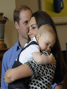 Prince William, Duke of Cambridge, Catherine, Duchess of Cambridge and Prince George attend an event for Plunket nurses and parents with their young children at Government House in Wellington, New Zealand, 09.04.14