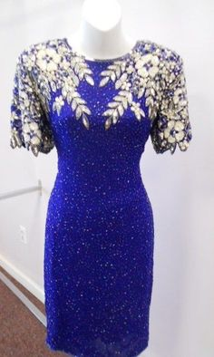 VINTAGE Beaded FLAPPER evening MINI dress KEY-HOLE SHORT Sleeve BLUE 12 NWOT #Unbranded #Sheath #Formal
