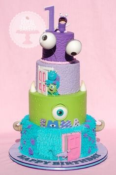 Cute Tiered Monsters Inc Birthday Cake, monster cake idea Crazy Cakes, Fancy Cakes, Cute Cakes, Pink Cakes, Beautiful Cakes, Amazing Cakes, Monster Inc Cakes, Monster Inc Birthday, Bolo Cake
