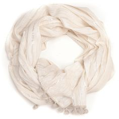 Ananda Design White Crocheted Metallic Pom Poms Wrap Scarf (150 AUD) ❤ liked on Polyvore featuring accessories, scarves, wrap shawl, crochet scarves, white crochet shawl, metallic shawl and metallic scarves