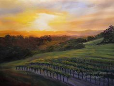 SOLD!  Paso Robles Vineyard Sunset Oil Painting California impressionist landscape art by Karen Winters.   12 x 16 inch oil on canvas.  This artwork is protected by copyright, do not reproduce.