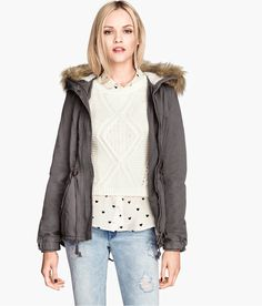 Parka in dark taupe twill with faux fur hood trim, pockets, and drawstring waistband.   Warm in H&M