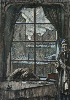 "Glazunov, Morning. Nastenka's Letter,1970 year  Illustration for F. Dostoevsky's short story ""White Nights""  Paper, black oiled chalk, pastel. 70,5×50"