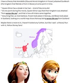 """Disney Theory about Brave and Frozen: Something I pondered tonight while watching Brave and saw the streak in Elinor's hair.  Assuming Elsa was """"born"""" with her powers as stated, possibly there were others before/after her who had the same ice powers. Could be nothing but fun to think about!"""