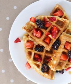 Top your morning waffles with fresh fruit.