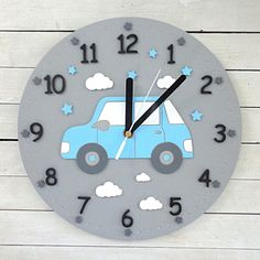Zegar ścienny dla dziecka z samochodem Clock For Kids, Art For Kids, Kids Clocks, Wall Clocks, Clay Crafts, Diy And Crafts, Arts And Crafts, Diy Clock, Clock Ideas