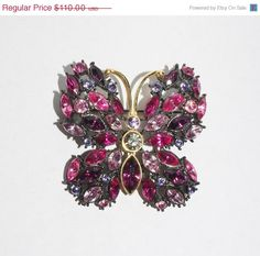 ON SALE Joan Rivers Large Purple Butterfly Pin by SCLadyDiJewelry