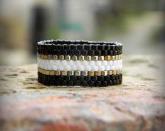Wide beaded ring. Seed bead ring Ring made of Miyuki delica seed beads.  Band…