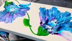 Gorgeous Dutch Pour Blown Flowers with Hand Painted Leaves! ~ Acrylic Pouring / Fluid Art I am so glad I tried something new! Pour Painting, Diy Painting, Gouache Painting, Painting Tutorials, Art Painting Flowers, Creative Painting Ideas, How To Paint Flowers, Beautiful Paintings Of Flowers, Dream Painting