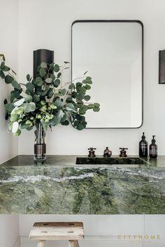 December Pinterest 2020: Top 15 Ideas & Inspiration - Chloe Dominik Interior Design Inspiration, Bathroom Inspiration, Green Interior Design, Green Marble Bathroom, Marble Bathrooms, Modern Bathrooms, Interior Minimalista, Bathroom Interior Design, Eclectic Bathroom