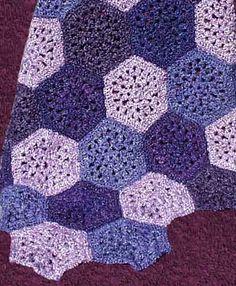 Purple Hexagons Purple Quilts, Needlecrafts, Darning, Hexagons, Crochet Projects, Crocheting, Crochet, Knits, Lace Knitting