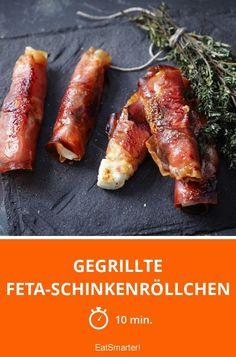 Gegrillte Feta-Schinkenröllchen - smarter - Zeit: 10 Min. | eatsmarter.de #feta #schinken #rollen #schafskäse
