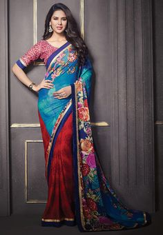 Buy Printed Chiffon Saree in Teal Blue  and Red online, work: Printed, color: Blue / Red, usage: Party, category: Sarees, fabric: Chiffon, price: $47.77, item code: SKZ817, gender: women, brand: Utsav