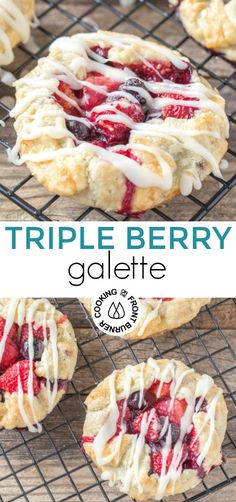 Enjoy this easy mini triple berry galette that uses fresh berries, a pre-made pie crust and drizzled with a tangy lemon glaze. A summer dessert you will want to serve family and friends! #dessert #freshberries #galette #summerrecipe