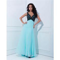 Sexy A Line V Neck Empire Waist Pleated Long Aqua Chiffon Black Beaded Prom Dress