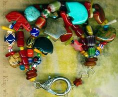 Southwest Bear Fetish Bracelet 4 Strands Chevron Trade Beads Turquoise Labradori   eBay