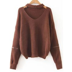 SheIn(sheinside) Coffee Choker V Neck Zipper Sleeve Sweater ($22) ❤ liked on Polyvore featuring tops, sweaters, shirts, t-shirts, coffee, zip sweater, brown v neck sweater, loose long sleeve shirt, long sleeve tops and brown long sleeve shirt