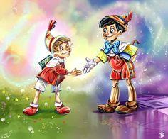 Pinocchio and Buratino Pinocchio, Jiminy Cricket, Blue Fairy, Puppets, Character Art, Princess Zelda, Cartoon, Disney, Fictional Characters