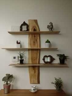 Wall Shelf Cherry Slab Live Edge Shelves Wood Ideas Pine Cones