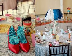 Love how the shoes were used as tabletop decors. :)