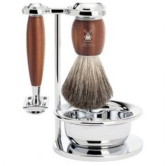 Muhle Vivo Safety Double Edge Razor and Shaving Brush 4 Piece Set Plum Tree Wood S81M331SSR